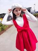 名媛格调 2016韩国新款高腰修身显瘦大蝴蝶结无袖毛呢背带连衣裙