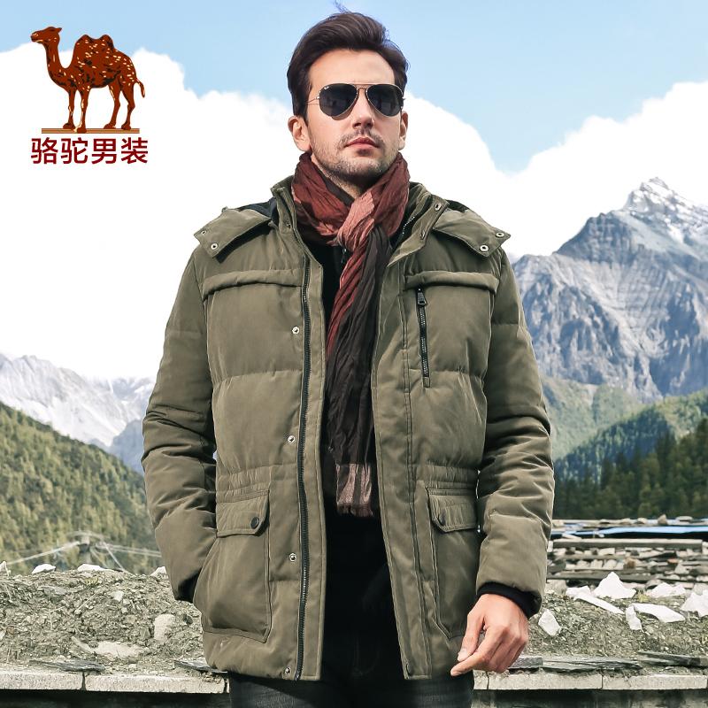 骆驼男装2014新款纯色羽绒服商务休闲长款男士羽绒服