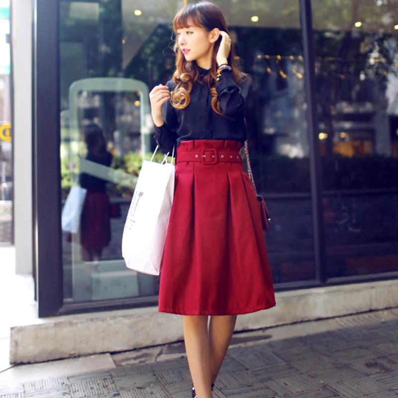 独家定制2014秋冬新款女装韩版高腰毛呢裙A字半身裙中长裙子中裙