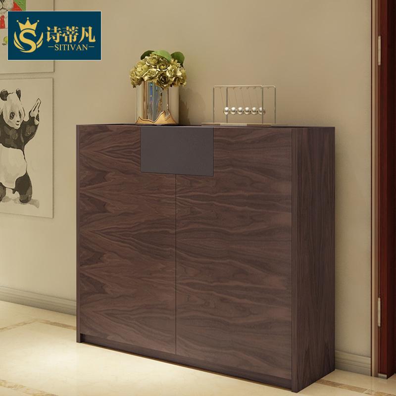 宜家北欧风格鞋柜简约现代家具对开门玄关柜板式储物胡桃木门厅柜