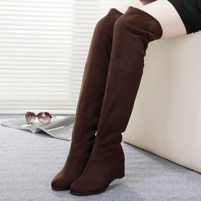 冬季过膝长靴韩版坡跟女靴时尚2014弹力靴绒面瘦腿长筒靴子女平底