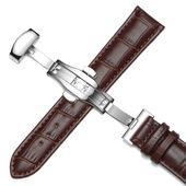 维途真皮表带手表带配件男女蝴蝶扣表链代用浪琴天梭美度卡西欧DW