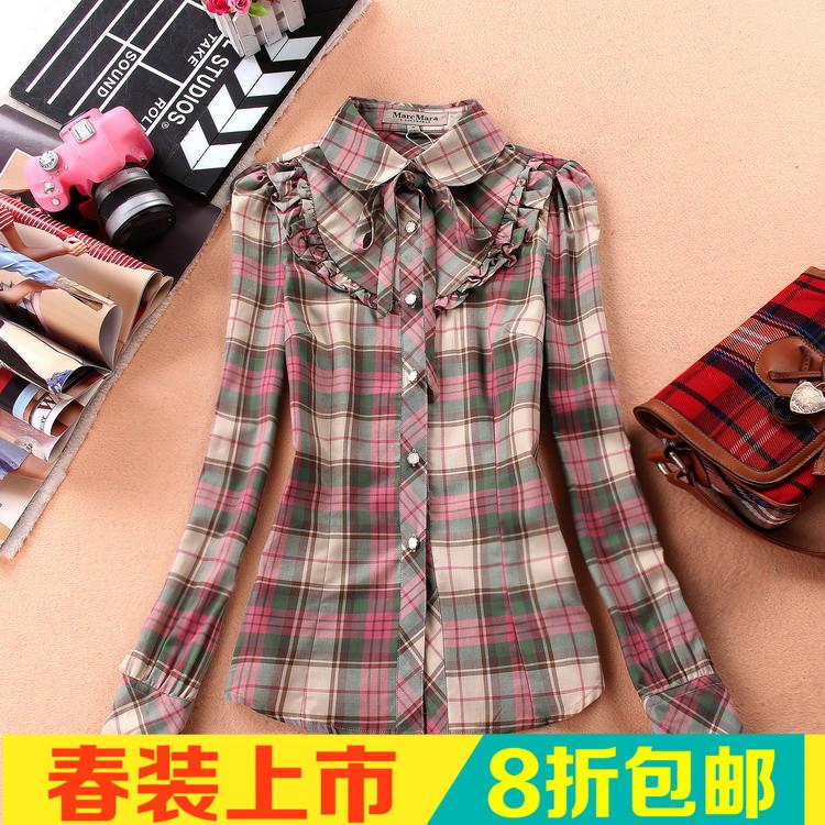 2015女装春装14岁初高中学生16女孩纯棉新款飘带娃娃领衬衫衬衣