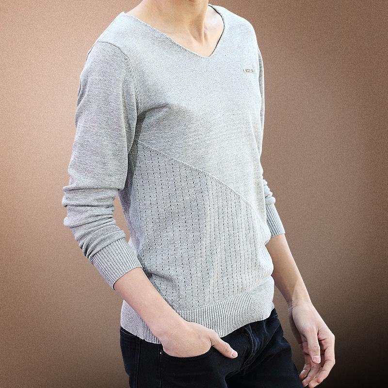 泰芝郎 2014男装纯色V领针织衫 毛衣打底衫长袖线衣套头
