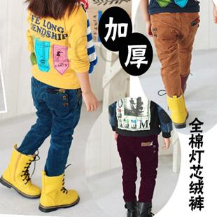 儿童冬装新款 爆款 韩版 纽扣灯芯绒 加绒加厚 男女童冬裤 童裤