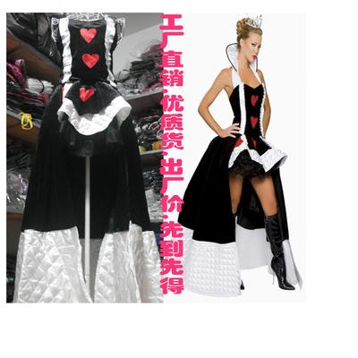 万圣节 贵气十足红心女王女皇角色扮演派对演出服装六件套