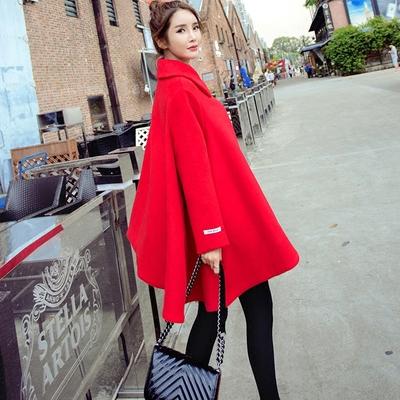 秋冬红色斗篷披肩毛呢外套韩版中长款宽松显瘦立体裙摆呢子大衣女