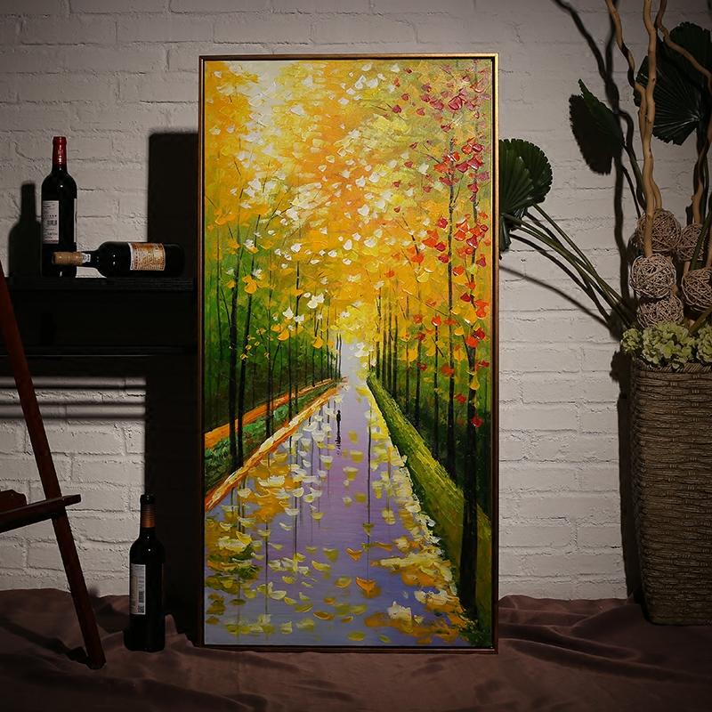 现代玄关装饰画竖版墙画走廊过道挂画客厅壁画餐厅风景画手绘油画