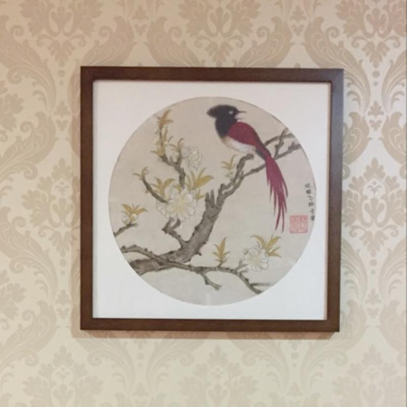 正方形实木挂墙画框 圆形扇面书法国画书画装裱画框标配圆形卡纸图片