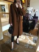自制: 高端系焦糖色茧型显瘦手缝双面羊绒毛呢大衣女中长款外套