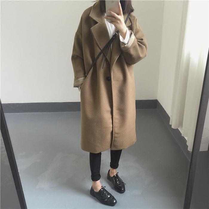 秋冬翻领复古纯色粗螺纹加厚夹棉保暖中长款毛呢子大衣棉服外套女