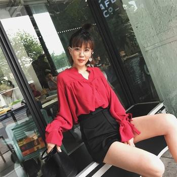 2017春秋装新款红色衬衫女装韩版气质V领绑带长袖娃娃衫上衣衬衣