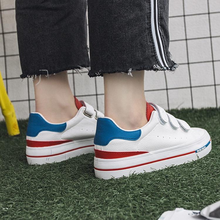 学生春季女鞋百搭厚底小白鞋休闲魔术鞋子韩版白帆布鞋