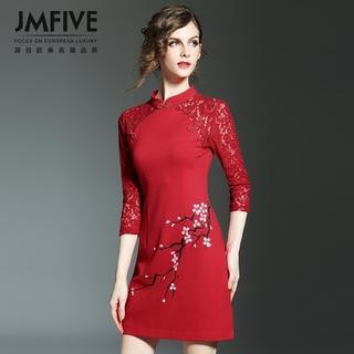 复古手绘修身显瘦旗袍连衣裙