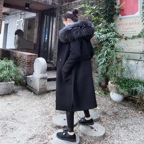 欧美超大貉子毛领连帽毛呢外套大衣女中长款冬厚直筒风衣羊毛呢子