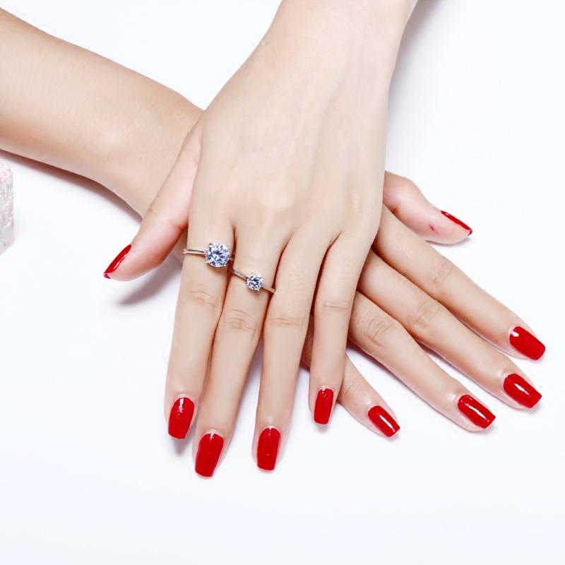 简约银戒指女 经典情侣求婚戒s925银仿真钻戒纯银食指戒银饰礼物