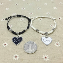 手工黑白蜡绳编织LOVE情侣手链一对学生饰品送男友女友情人节礼物