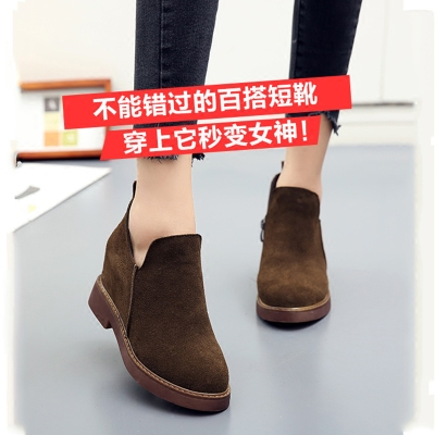 新款真皮复古女鞋磨砂牛皮中跟拉链粗跟马丁靴英伦潮内增高短靴潮