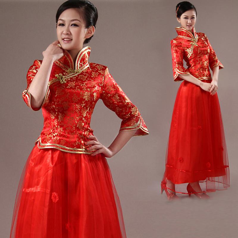 旗袍 旗袍裙 结婚礼服 晚装改良旗袍礼服 复古中式刺绣红色旗袍