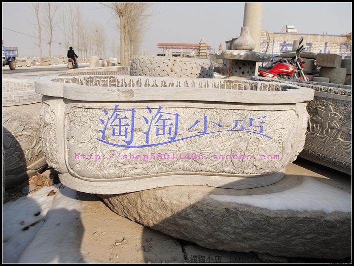 青石石雕花盆,仿古石雕鱼池,花园装饰鱼缸,浮雕荷花盆园林雕塑