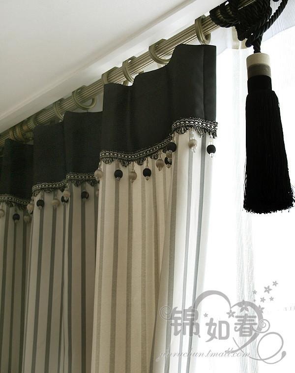 锦如春高档麂皮绒条纹全遮光/遮光窗帘双面加厚
