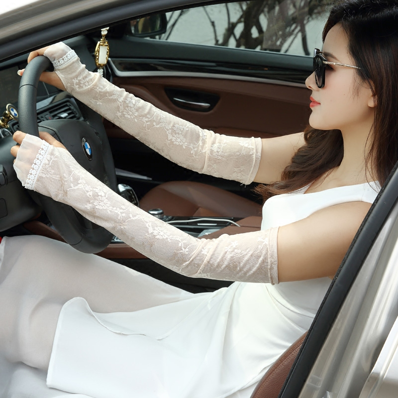 袖头蕾丝长款防晒袖套夏季户外手臂紫外线手套开车冰袖防
