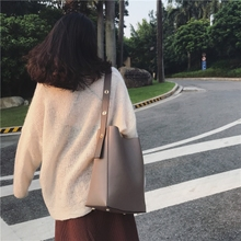 简约水桶包2017秋冬新款女包韩版大包包休闲子母包大容量单肩包潮