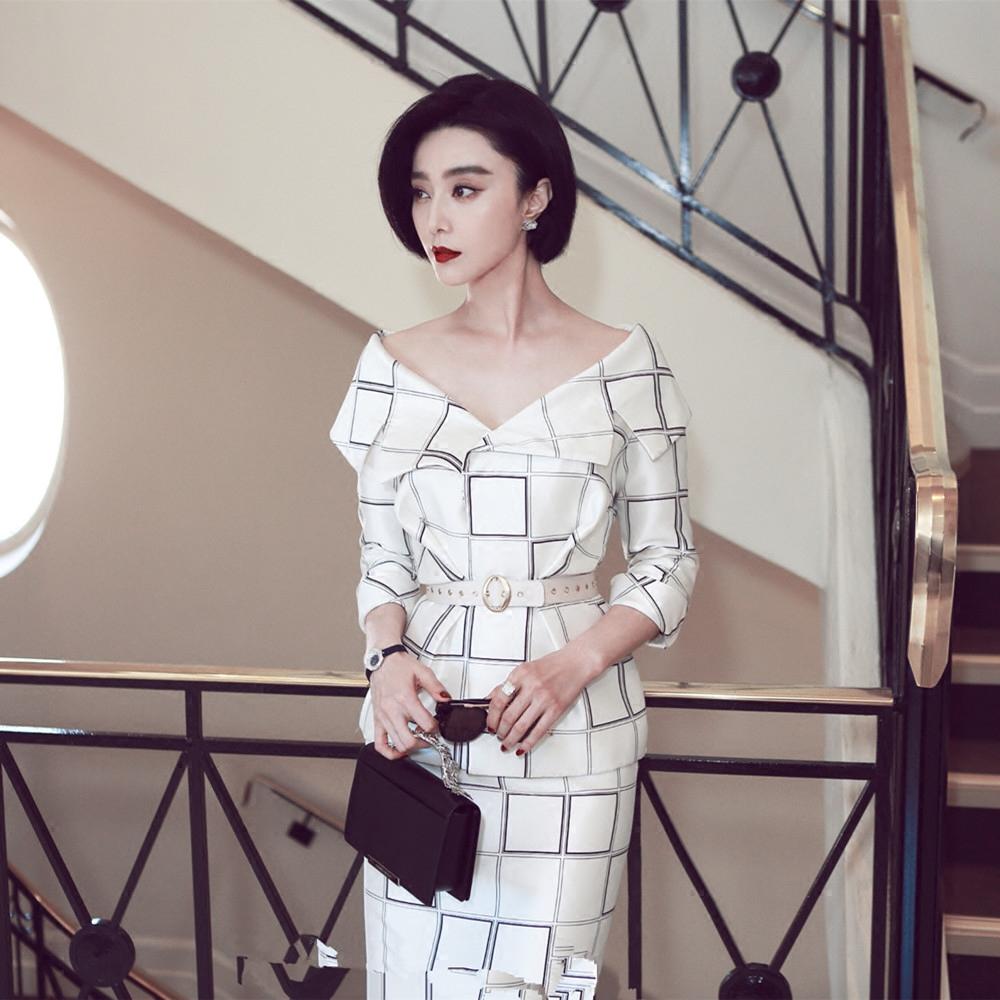 查看淘宝范冰冰机场同款礼服戛纳评委露肩格子套装明星白色格纹裙装两
