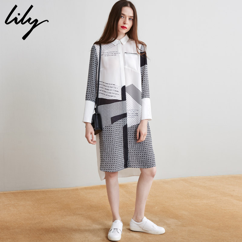 折丽丽lily2017夏秋装女休闲印花衬衫裙直筒长袖连衣裙 116310C