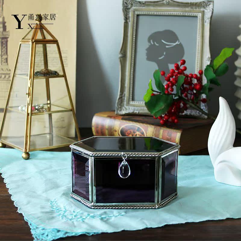 欧式公主玻璃首饰盒摆件紫色洛可可创意礼品软装陈设