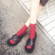 【叮当家】 秋季新品 真皮獭兔毛潮流凉鞋 毛毛女鞋平底欧美风
