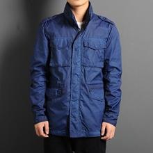 春季新款男士空军风格修身中长款外套韩版多口袋工装风衣夹克外套