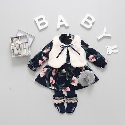 2017秋冬新款韩版女宝宝加绒连衣裙+马甲两件套装0-1岁婴幼儿衣服