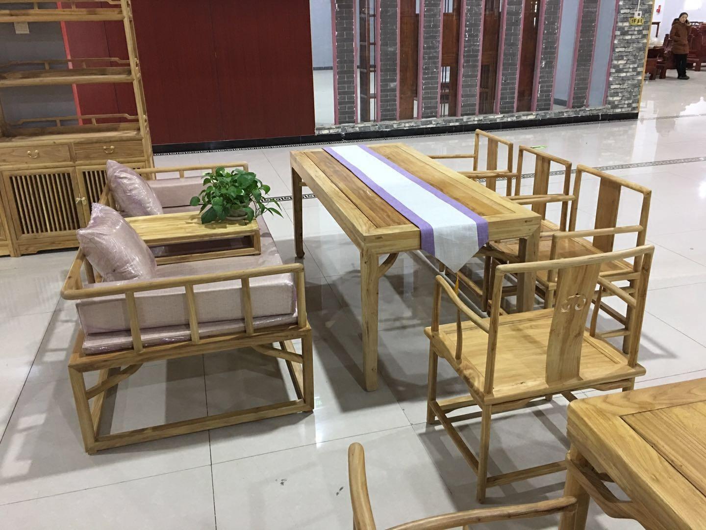 老榆木新中式罗汉床三件套罗汉榻 现代简约禅意新中式沙发床