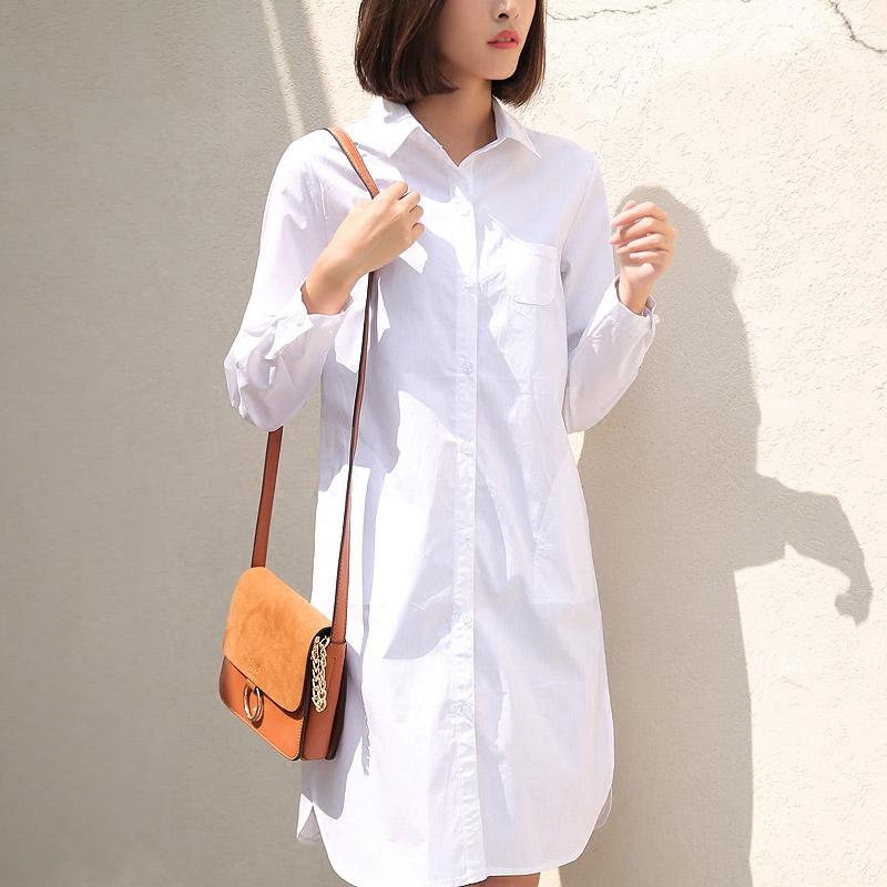 加绒加厚白色中长款衬衫女长袖纯棉宽松大码显瘦加长版长款白衬衣