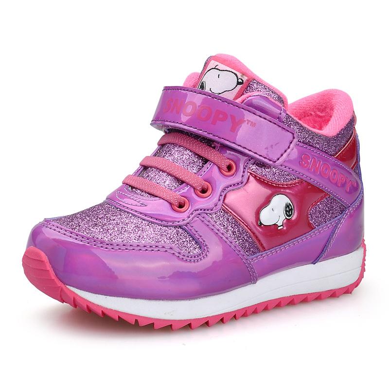 新款包邮史努比童鞋 女童冬季加棉保暖运动鞋 中童大童棉鞋雪地靴