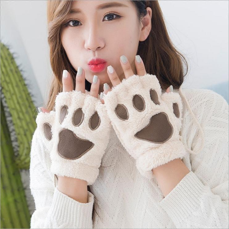 可爱暴爪卡通漏指半指手套女冬韩版学生写字保暖毛绒加厚猫爪手套