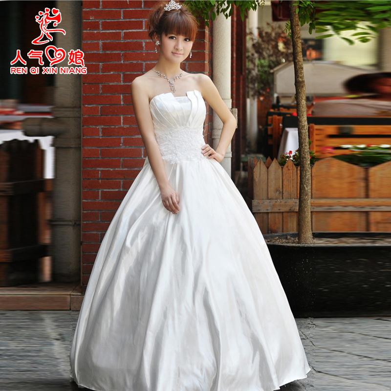 裹胸新娘婚纱礼服白 2014韩版公主大码婚纱 胖mm齐地宫廷显瘦婚纱