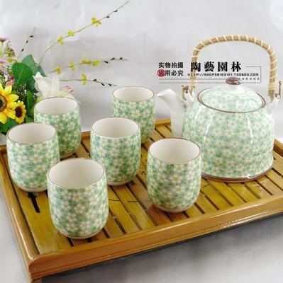 田园风情 七件头茶具礼品套装 红釉小碎花提梁茶具 含过滤网