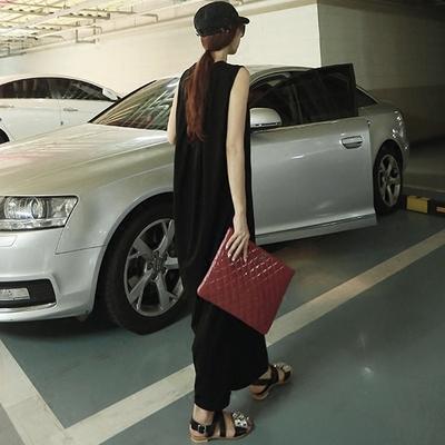 黑色开叉连衣裙2017夏季新款女装韩国宽松无袖休闲背心长裙一步裙