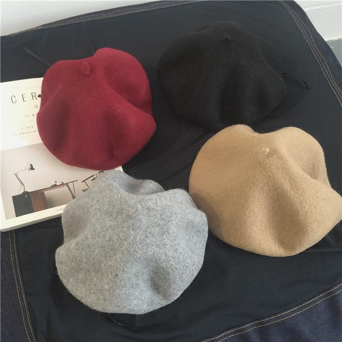 驼/酒红/灰/黑 凹型必备!16冬/ 复古纯色百搭毛呢子贝雷帽女帽子