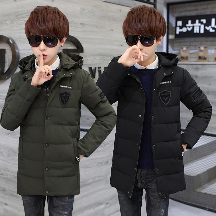 青少年棉衣男中长款13-14-15岁初中学生冬季外套男孩大童羽绒棉服