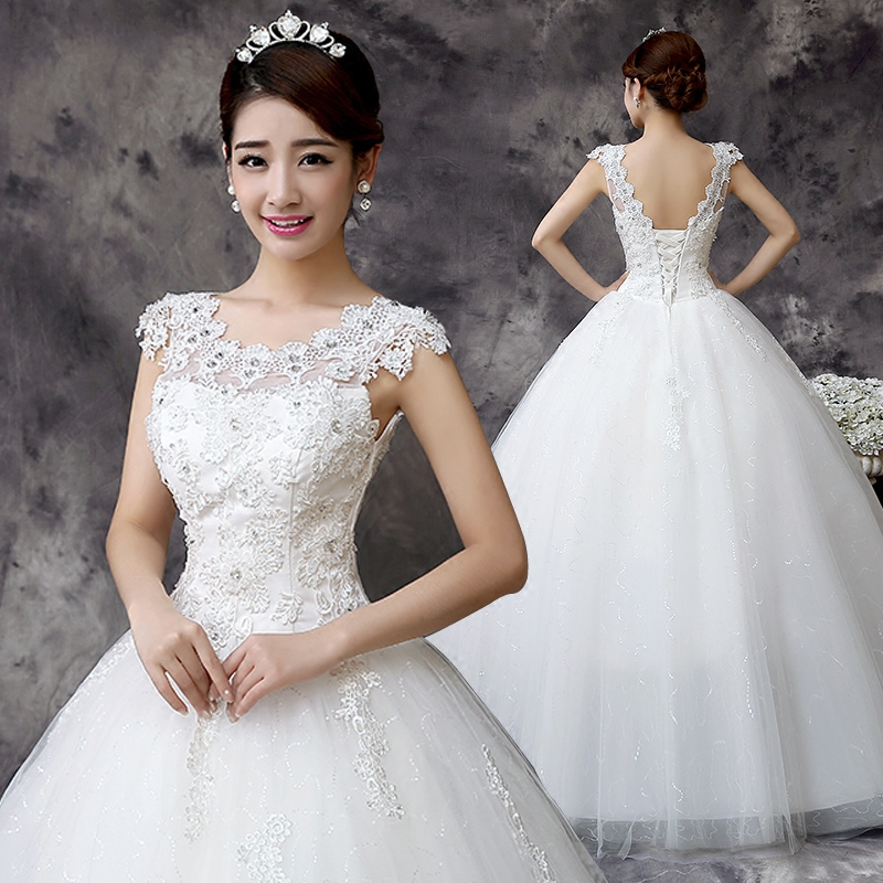 婚纱礼服2017新款韩版宫廷新娘婚礼修身显瘦一字肩公主裙大码女装