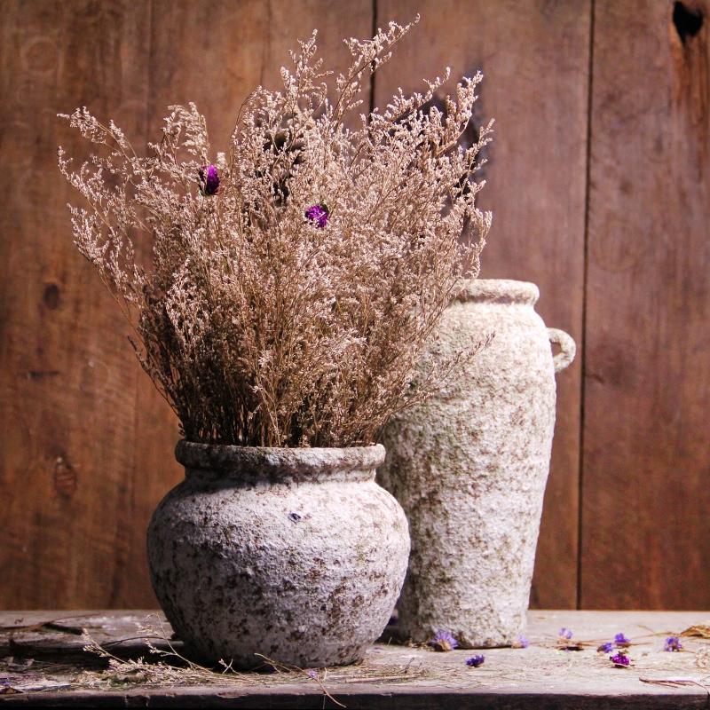 花瓶摆件居家客厅卧室陶器 创意乡村田园粗陶罐 欧美橱窗时尚装饰