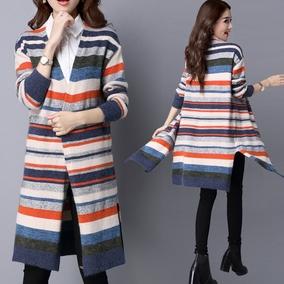 羊毛衫针织外套条纹开衫女中长款宽松V领外搭秋季厚外套大衣披风