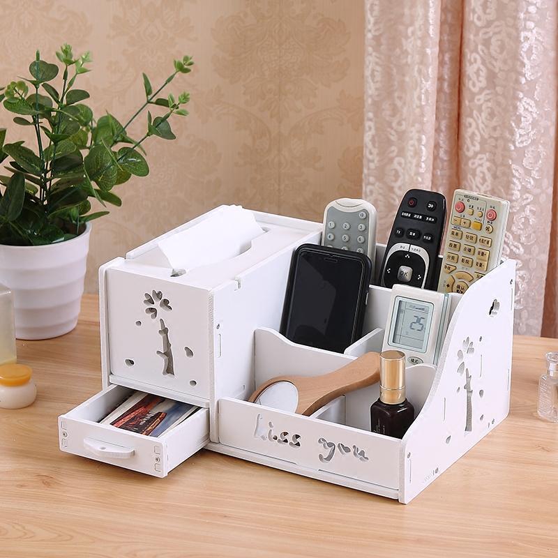 多功能抽纸盒纸巾盒家用客厅茶几遥控器收纳盒欧式创意餐巾纸盒