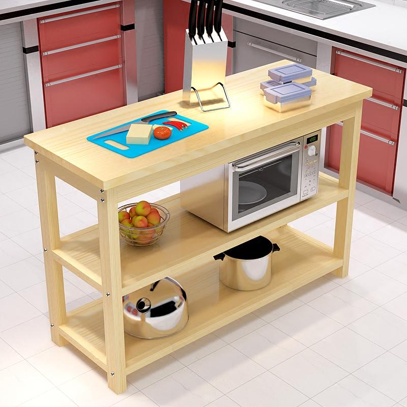 桌子厨房切菜桌料理台简易长条桌子家用置物桌微波炉架实木餐桌