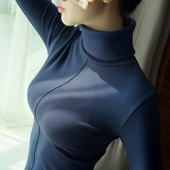 显瘦小衫 上衣百搭 女秋冬学生大码 打底衫 纯棉高领T恤长袖 修身图片