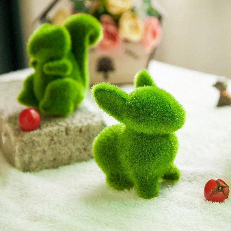田园仿真绿色植物可爱小动物摆件创意家居客厅桌面橱窗装饰品摆设