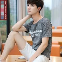 夏装男士短袖t恤韩版圆领半袖衫潮男装夏天修身半截袖学生上衣服